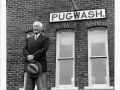 Cyrus Eaton in front of Pugwash Train Station